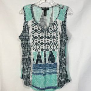 New -STYLE & CO. Green Mix Peasant Tank Top